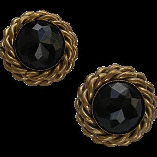 Vintage Butler & Wilson Black Rhinestone Clip Earrings