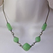 Art Deco Molded Jade Glass Bead Necklace