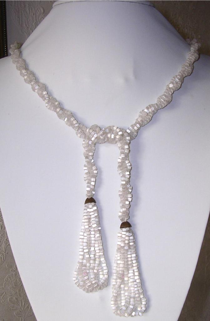 Original Art Deco Long Satin Glass Beaded Lariat Sautoir