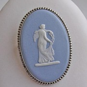 Lovely Wedgwood Blue Jasperware and Sterling Silver Cameo Brooch