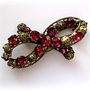 Large Vintage Czech Filigree Red Rhinestone Bow Brooch