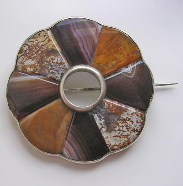 Antique Victorian Scottish Silver Agate Brooch