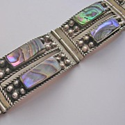 Vintage Sterling Silver and Abalone Bracelet Signed Mexico