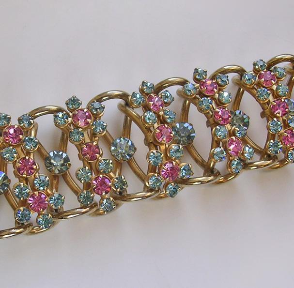 Fabulous 1950's American Rhinestone Cocktail Bracelet