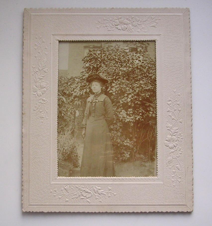 Edwardian Lady Photo with Embossed Mount