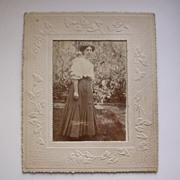 Edwardian Lady Photo with Art Nouveau Embossed Mount