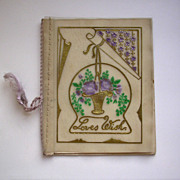 Vintage Christmas Card with Embossed Glassine Panel c1920