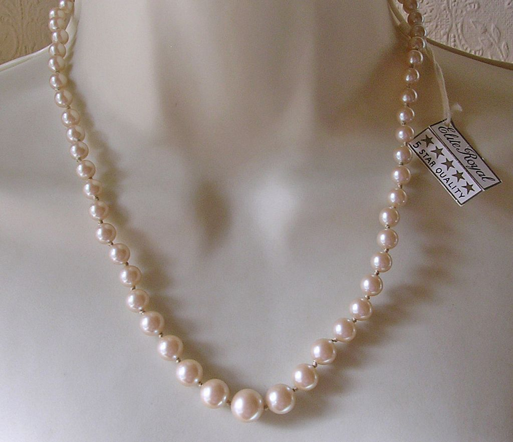 Vintage Graduated Imitation Pearl Necklace With Sterling