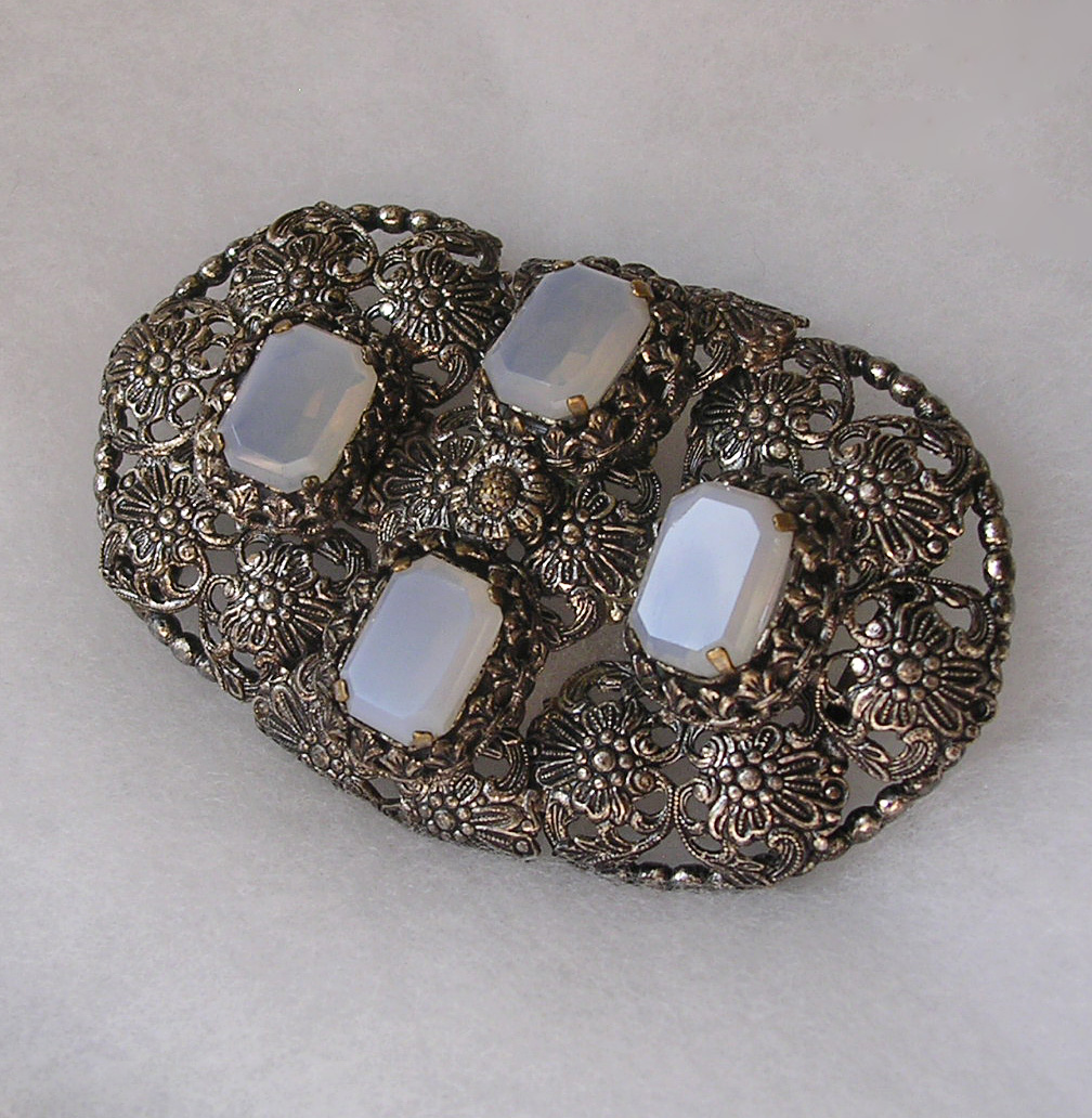 Large Edwardian Faux Moonstone Belt Clasp