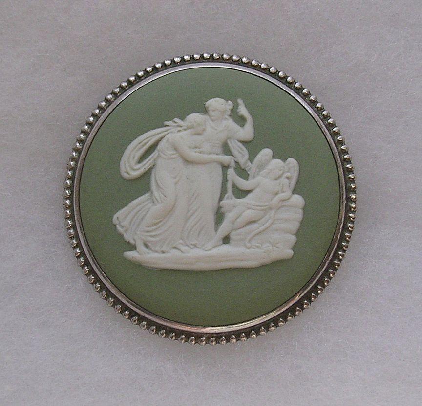 Vintage Silver Framed Wedgwood Green Jasperware Cameo Brooch