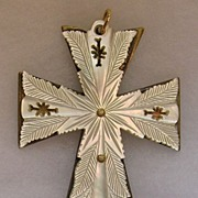 Beautiful Victorian Carved Mother of Pearl Crucifix Pendant Brooch