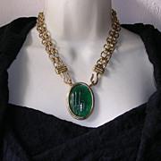 Fabulous Vintage Chanel Emerald Gripoix Glass Pendant Necklace