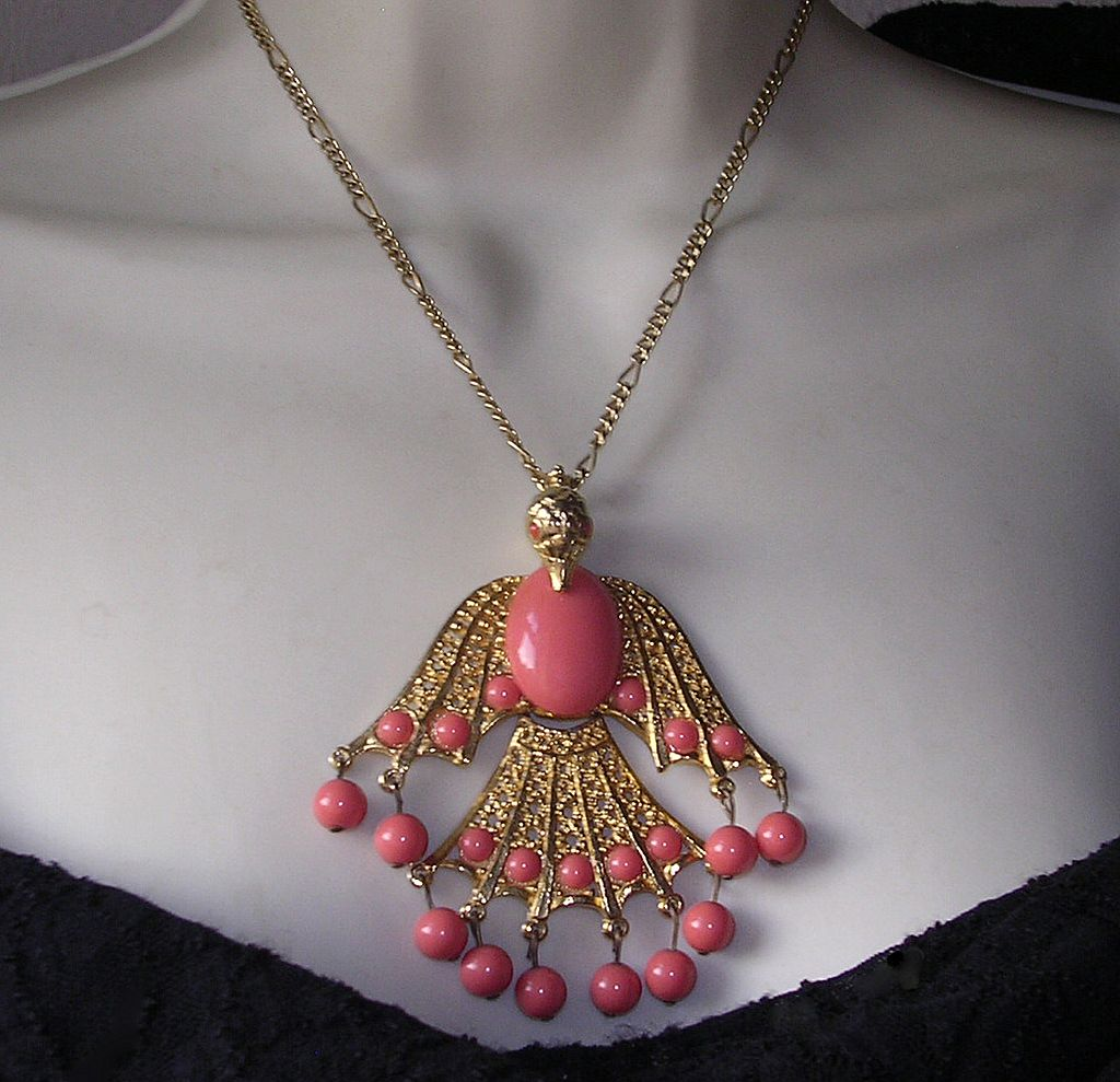 Large Coral Lucite Bird in Flight Pendant Necklace