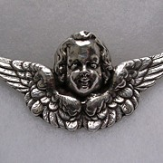 Lovely Large Vintage Sterling Silver Cherub Brooch