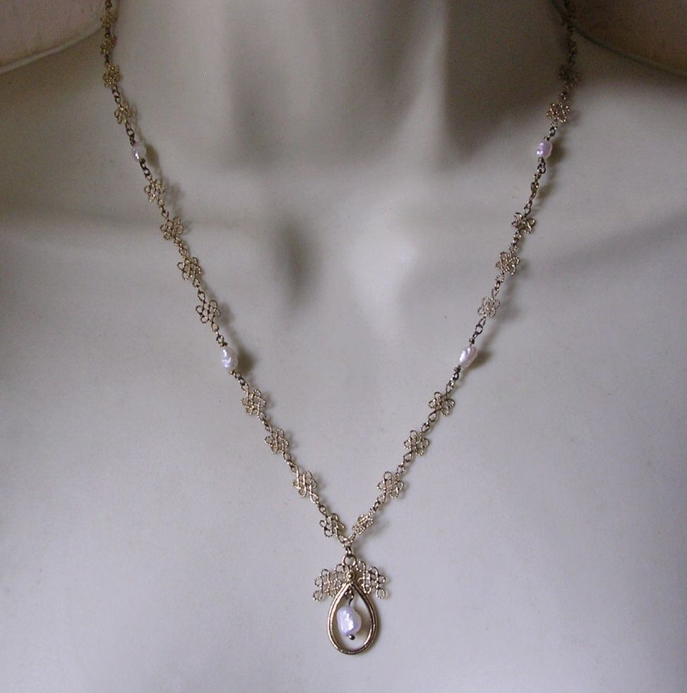 Chinese Gilded Sterling Silver & Freshwater Pearl Pendant Necklace