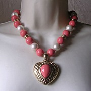 Vintage Signed Coral Plastic & Imitation Pearl Bead Heart Pendant Necklace