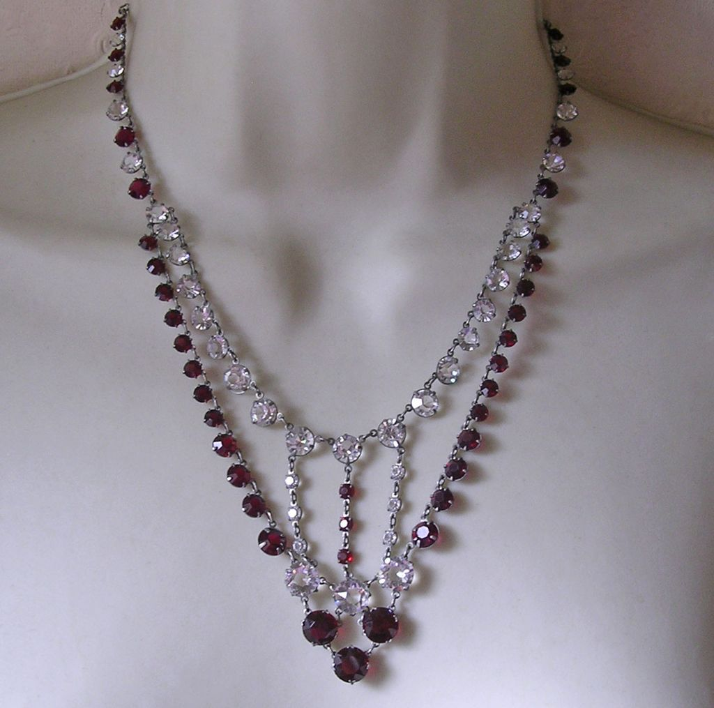 Art Deco Clear & Ruby Bezel Set Crystal Swag Necklace