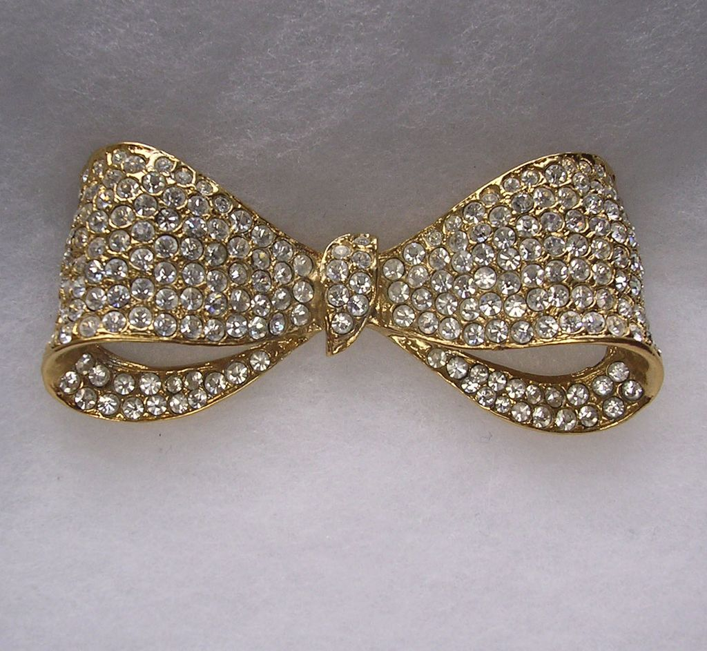 Signed Swarovski Clear Crystal Bow Brooch
