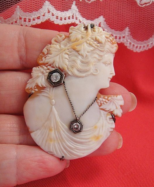Unusual Antique Large Cameo Silhouette En Habille Brooch Pendant with Large Diamonds!