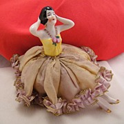 Art Deco Germany Half Doll Flapper Girl & Legs Pincushion