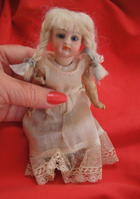 Antique Bisque Cabinet Doll Paper Weight Eyes  Closed Mouth