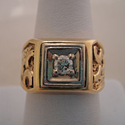 Heavy Quality Vintage 14K Gold Mens Diamond Ring