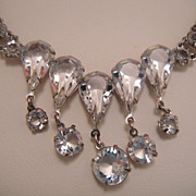 Gorgeous Sparkling Cut Crystal Open Back Drop Necklace