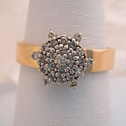 Vintage Estate Diamond 14k Gold Snowflake Ring