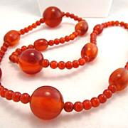 Fabulous Deco Cherry Amber Bakelite Amber Long Bead Necklace