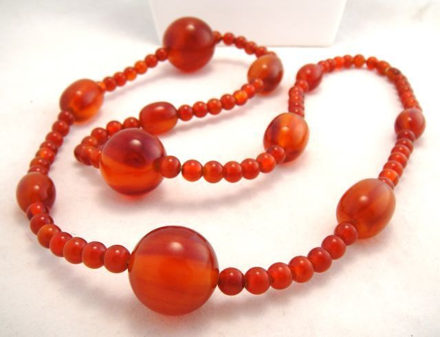 Fabulous Deco Cherry Amber Bakelite Amber Long Bead Necklace