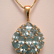 Estate 14k Gold Blue Genuine Topaz Pendant Necklace
