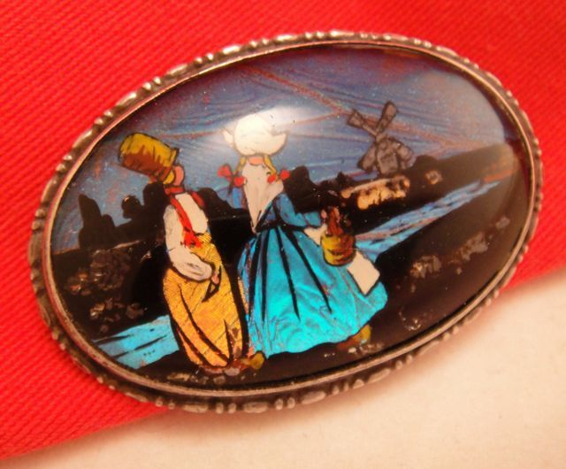 Antique Large Sterling Real Butterfly Wing Brooch with Dutch Holland Scene