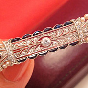 Exquisite Sapphire Diamond Pearl Gold Bar Brooch in Box