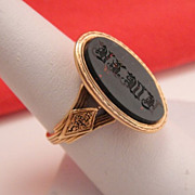 Antique French 18k Carved Bloodstone Intaglio Signet Seal Ring