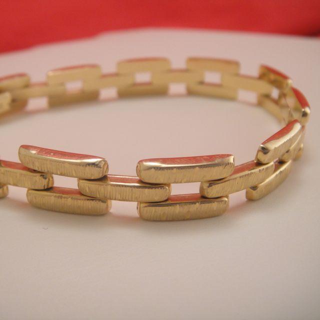 Wide 14k Gold Open Link Bracelet