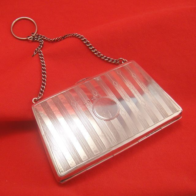 Purse Shaped Antique English Sterling Silver Handbag Finger Purse Chatelaine Etui Minaudiere