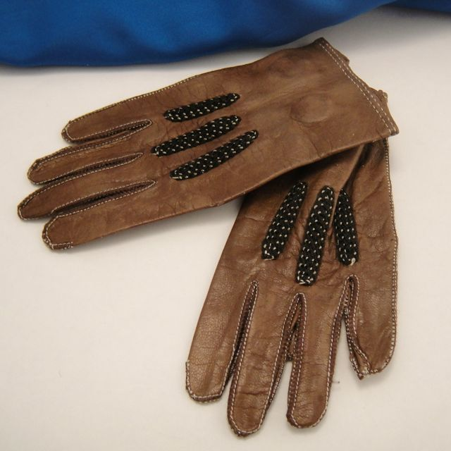 Antique Fashion Doll Gloves Miniature Brown Kid Leather