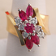 Estate 14K Gold Ruby and Diamond Dinner Cocktail Ring 8.8 Grams!