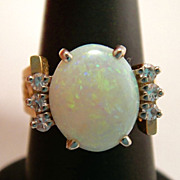 Fabulous Custom Made Vintage Fiery Solid Opal Diamond 14k Gold Ring