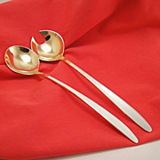 David Andersen Norway White Enamel Sterling Silver Salad Servers
