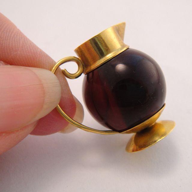 Victorian Antique Garnet 14K Gold Wine Ewer Charm Pendant