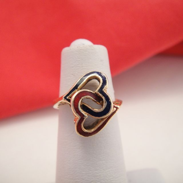 Antique 14k Gold Enamel Entwined Heart Ring