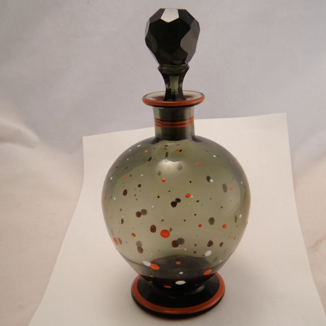 Vintage French Art Deco Enamel Polka Dot Large Perfume