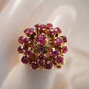 Vintage Estate 12k Gold Ruby Domed Ring