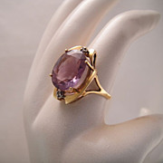 Vintage 14k Gold Amethyst Diamond Cocktail Ring