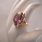 Vintage 14k Gold Amethyst Diamond Cocktail Ring