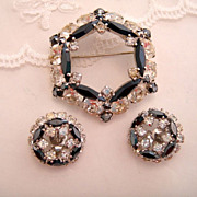 Vintage Sherman Rhinestone Black and Clear Brooch and Earrings