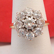 Amazing 1.75 Carat Diamond Engagement Cluster Ring Art Deco