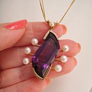 Vintage 14k Gold Custom Designed Amethyst Cultured Pearl Pendant
