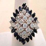 Huge Vintage 14 Karat White Gold Diamond Sapphire Cocktail Ring 2 Carats
